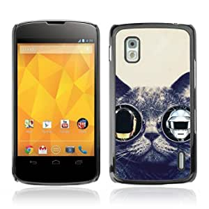 Designer Depo Hard Protection Case for LG Nexus 4 E960 / Punk Glasses Cat