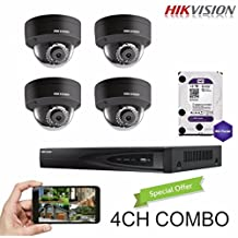 Hikvision 4CH Combo: 4 x 4MP High Defination IP Dome Cameras(DS-2CD2142FWD-I(B)) Security System, 4 Channel NVR (DS-7604NI-E1/4P) With 1TB WD Purple HDD Installed, Built-in PoE, Hikvision Camera and NVR US English Version [Ships from Canada]
