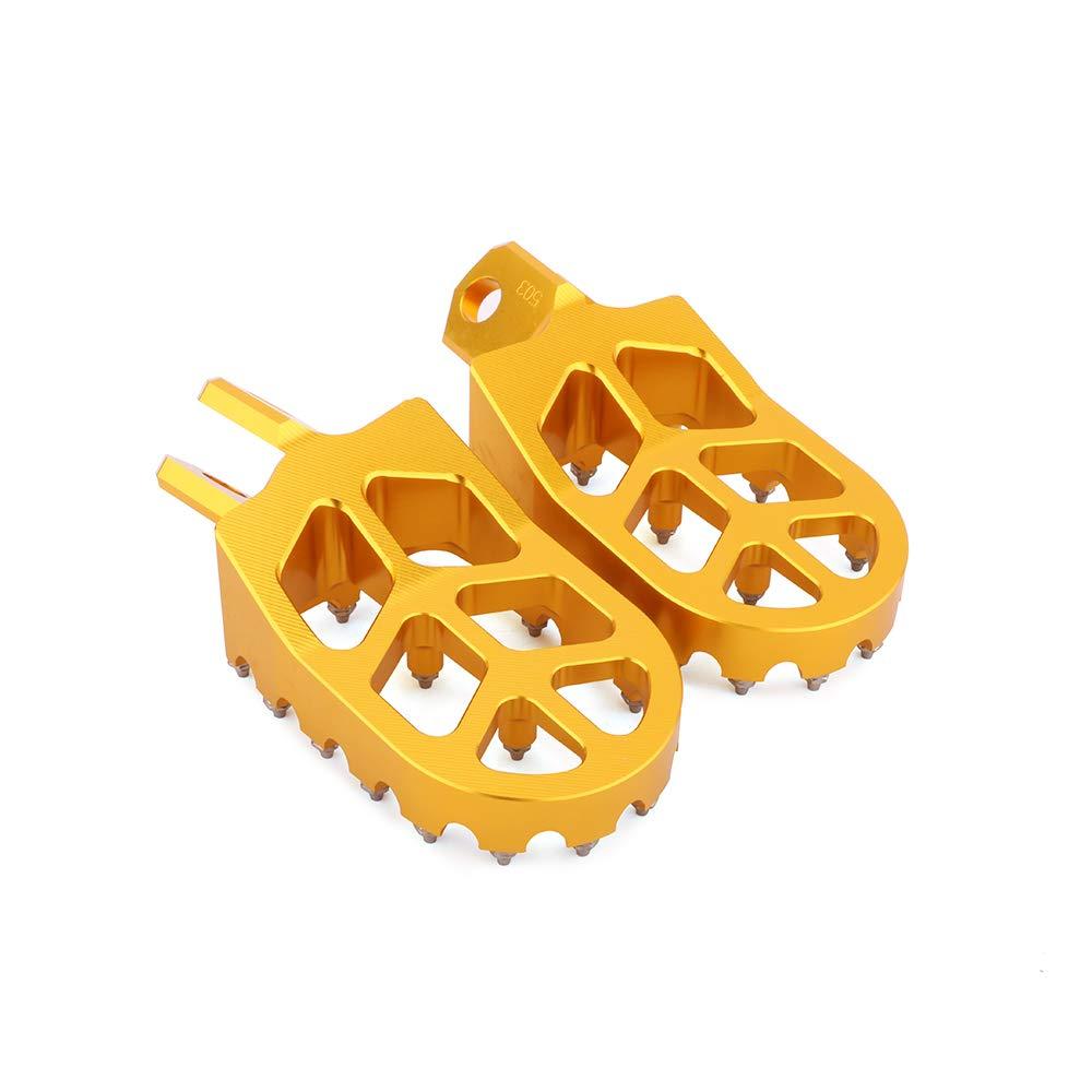 YSMOTO Foot Pegs Footpegs Footrest Pedals CNC Aluminum Foot rests For Suzuki Kawasaki RM125 RM250 91-02 RMX250S RMX250R DRZ400 00-04 DRZ400E 00-07 DRZ400S 00-16 KLX400R KX500 DRZ400SM Dirt Bike Gold