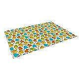KESS InHouse Alisa Drukman ''Good Monsters'' Blue Kids Outdoor Floor Mat, 4' x 5'