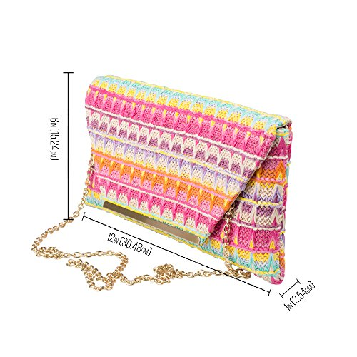Multi Multi Color Raffia Handbag Envelope Party Evening Regale Purse La Clutch Pink and W6Fa7gqn5