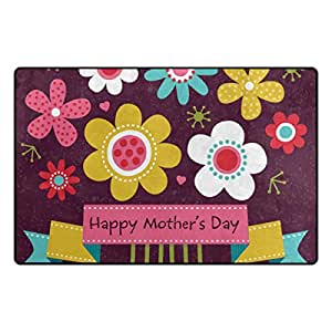 U LIFE Happy Mothers Day Floral Flowers Large Doormats Area Mats Runner Floor Mat Cover Carpet for Entrance Way Living Room Bedroom Kitchen Office 36 x 24 Inch