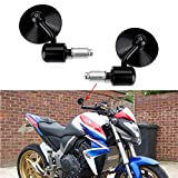 Round 7/8'' Handle Bar End Motorcycle Side Mirrors For Yamaha Sport FZ8 FZ-07 09 Honda Kawasaki Suzuki