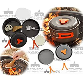 Redneck Convent Outdoor Camping Cookware Set – Compact Camp Cooking Backpack Mess Kit – Campfire Pot, Pan, Utensils in…