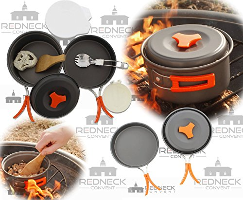- Redneck Convent Outdoor Camping Cookware Set - Compact Camp Cooking Backpack Mess Kit - Campfire Pot, Pan, Utensils in Drawstring Bag