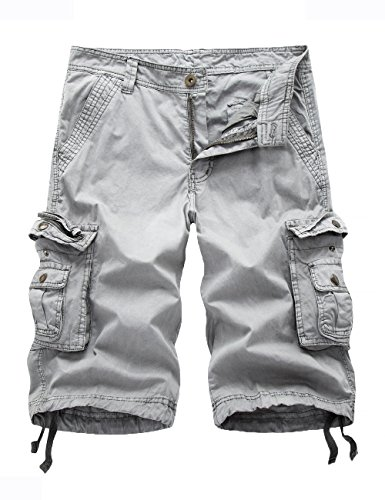 FOURSTEEDS Women's Cotton Casual Zipper Multi-Pockets Twill Bermuda Drawstring Women Cargo Shorts Light Grey US 16 ()