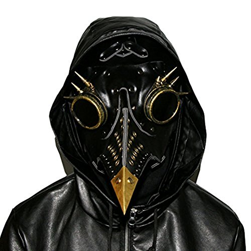Cyberpunk Costumes (Plague beak Doctor Mask Bird Beak Spike Leather Steampunk Steam Punk Gothic Halloween LARP Cosplay (style F))