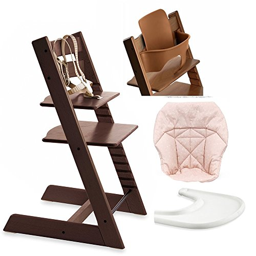 (Stokke Tripp Trapp High Chair, Baby Set - Walnut Brown, White Tray & Mini Baby Cushion - Pink Bee)