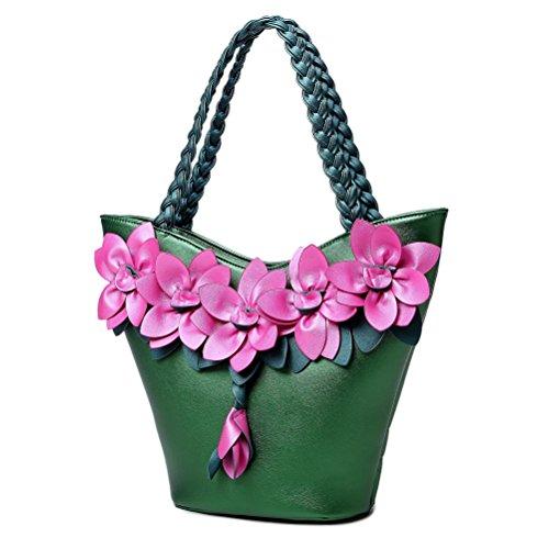 Weave Bags Handbag Leather Tote Shoulder Women's Flower Handle 3D Dark Bag Green Crossbody Purse SUNROLAN with PU n6q4C7xt0