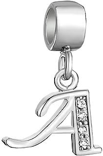 Uniqueen Letter Charms Initial A-Z Dangle Alphabet Sterling Silver Bead fit Bracelet Pugster UQ_DPC_MYSS154