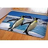 HUGS IDEA Penguins Cute Animals Doormat Non Slip Washable Indoor Outdoor Floor Mats Soft Rugs for House