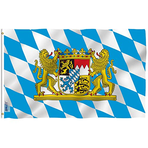 Anley Fly Breeze 3x5 Foot Bavaria with Lions Flag - Vivid Color and UV Fade Resistant - Canvas Header and Double Stitched - Bavarian Lion Crest Flags Polyester with Brass Grommets 3 X 5 Ft (Bavaria Flag)