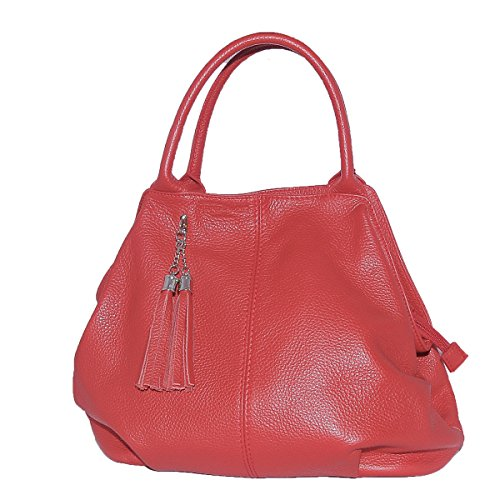 Italy Genuine 100 Woman'S Made Handbag Red Leather GIADA in BORDERLINE qKptfFK