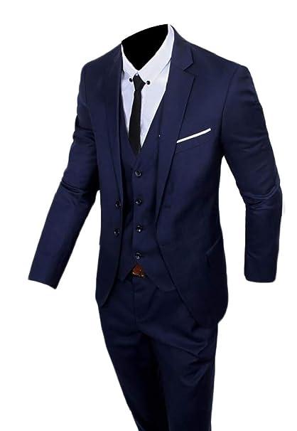 BingSai - Traje - para Hombre Azul Azul Marino S: Amazon.es ...