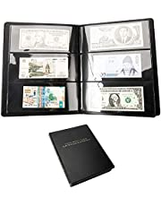DSHUJC New 60Pockets Leather Notes Album Banknote Paper Money Collection Stamp Ticket