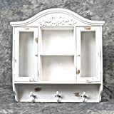 Chabby Chic Decor Style Wooden Wall Mounting Two Shelves Cabinet with Hooks -- Distressed White
