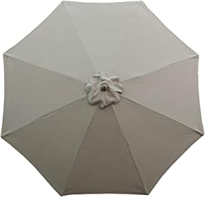Formosa Covers 9ft Market Umbrella Replacement Canopy 8 Ribs Taupe (Canopy Only)