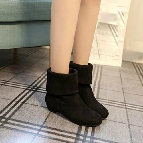5 Mid Suede Flock Flat US Snow Boot Stylish 7 Boot Black Flat Boots Winter Comfort Boots Black Women's Calf Shoes SwTCdxEqS