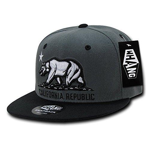 WHANG California Republic Snapbacks, Charcoal/Black