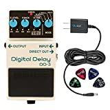 BOSS DD-3 Digital Delay Effects Pedal -INCLUDES- Blucoil Power Supply Slim AC/DC Adapter for 9 Volt DC 670mA AND 4 Guitar Picks