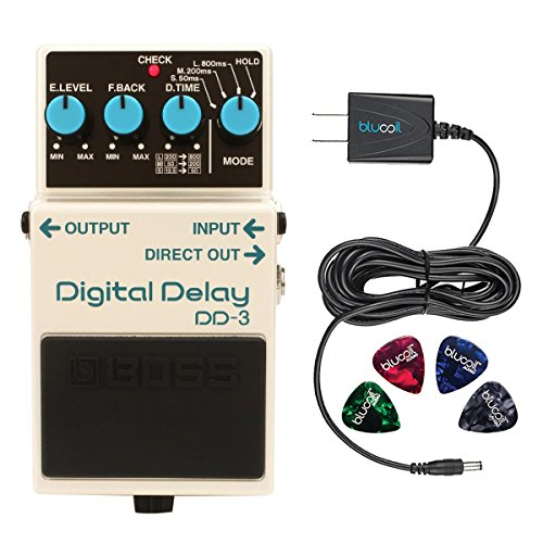 BOSS DD-3 Digital Delay Effects Pedal Bundle with Blucoil Power Supply Slim AC/DC Adapter for 9 Volt DC 670mA and 4 Guitar Picks Boss Dd3 Digital Delay Pedal