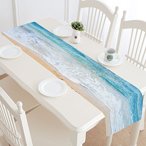 INTERESTPRINT Beach and Sea Table Runner Home Decor 14 X 72 Inch, Coastal Ocean Wave Table Cloth Runner for Wedding Party Banquet Decoration