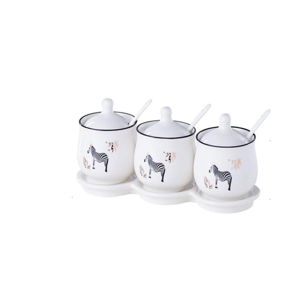 MINGRUIGONGMAO Simple ceramic seasoning jar with 3 ceramic seasoning jars, 3 ceramic lids and 3 ceramic seasoning spoons, integral ceramic tray. Suitable for kitchens and gifts. Plush toys by MINGRUIGONGMAO