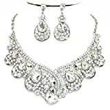 Women's Chunky Clear Crystal Statement Silver Chain Necklace Earrings Set Prom Bridal Pageant Jewelry