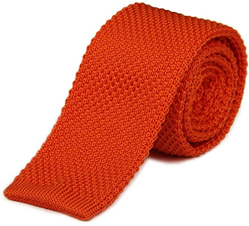 AngelShop Vintage Smart Casual Mens Solid 2″ Skinny Knit Tie For Groom Various Colors