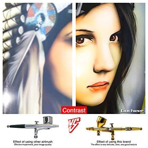 Gocheer Airbrush Pistolen Set-Double Action Airbrush Spray Kit, mit Luftfilter schnellkupplung, 3 verschiedene Düsen und Nadeln (0.2mm, 0.3mm, 0.5mm) für Airbrush Tattoo Set,Nageldesign Makeup Handwerk Kuchen