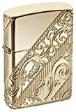 Elegance abounds with the golden scroll lighter, the 2018 collectible of the year. Zippo innovative engineering capabilities bring new vitality to the timeless design. 360' multicut engraving allows floral motifs and intricate banding to diagonally w...