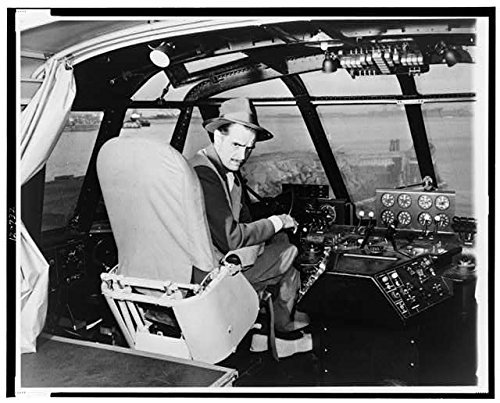 Photo: Howard Hughes,cockpit of wooden flying boat,turned right,1938,Aviator,Inventor
