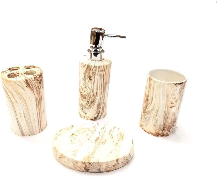 Empire Home Marble 4-Piece Bathroom Accessory Ceramic Set - Lotion Dispenser/Tumbler / Toothbrush Holder/Soap Dish (Long Brown Marble)