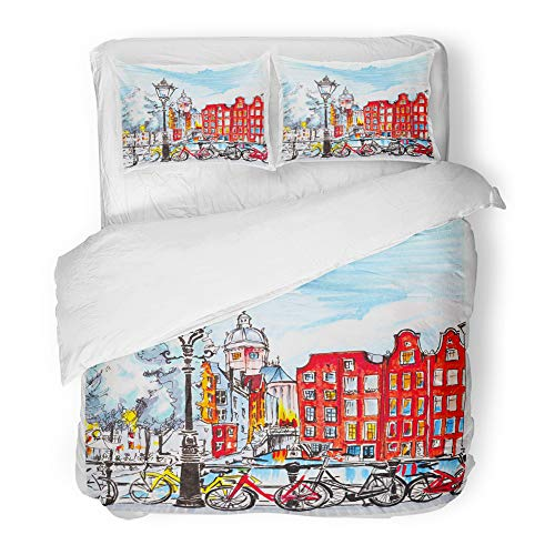 Emvency Decor Duvet Cover Set Twin Size Black Bike Color Hand Drawing City View of Amsterdam Typical Houses Holland Netherlands Made Markers Red 3 Piece Microfiber Fabric Print Bedding Set Cover]()