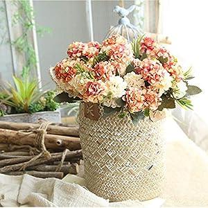 Mini Hydrangea Artificial Flower Small Bouquet Home Wedding Decoration Silk Flower Chrysanthemum Plant Wall Fake Flower,Orange 5