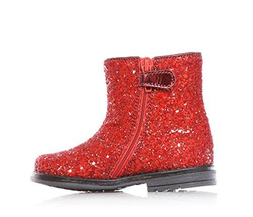 MISS GRANT - Bottine rouge avec glitter, style élégant et chic, avec fermeture éclair latérale, nœud latéral avec pierre appliquée et semelle en caoutchouc, Fille, Filles