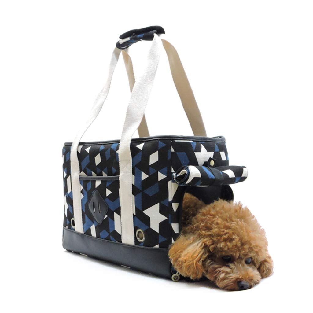 FJH bluee White Black Shoulder Bag Canvas Breathable Triangle Portable Pet Bag Suitable For Small Dogs And Cats