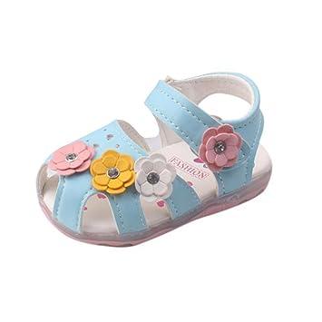 Sandalias bebé niñas verano ❤ Amlaiworld Zapatillas Sandalias para niñas pequeñas con flores LED zapatos