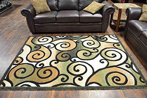 King Modern Contemporary Abstract 8'X10' Rug 2010 Sage Green by Artistry Rugs (Rug Sage Kashan)