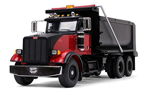 First Gear 1/50 Scale Diecast Collectible Black/Red Peterbilt Model 367 Dump Truck (50-3407)