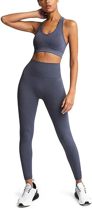 Mujer Yoga Fitness Conjunto de Ropa Deportiva 2 Piezas Sujetador Sin Costuras + Pantalones Leggings Color Sólido Camiseta Gimnasio Corriendo Pantalones Conjuntos de Chándal: Amazon.es: Ropa y accesorios