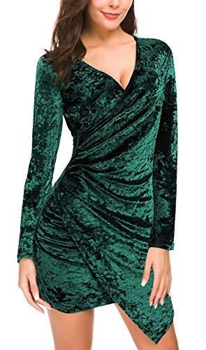 DGMYG Women's Wrap V Neck Velvet Dress Long Sleeve A line Bodycon Slim Cocktail Party Dresses XL Green