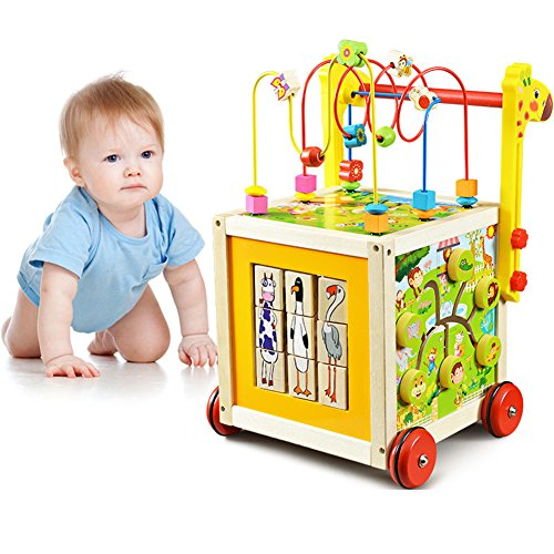 O-Toys 7 in 1 Wooden Toys Kids Learning Educational Toy Bead Maze Activity Cube Game Baby Walker for (1 Learning Activity Cube)