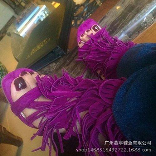 Estilo de Roma sandalias de tacón alto de las borlas de sandalias de tacón alto Zapatos de mujer Rose red