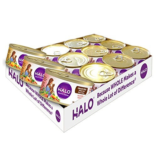 Halo Grain Free Natural Wet Cat Food, Variety Pack With Chicken, Salmon & Turkey, 5.5-Ounce Can (Pack Of 12) ()