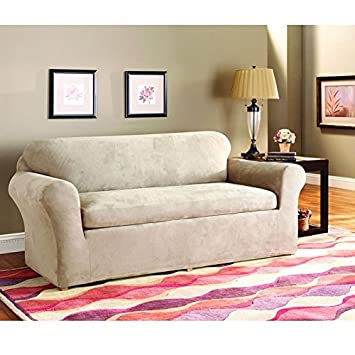 Amazoncom Sure Fit Stretch Suede Sofa Slipcover Taupe