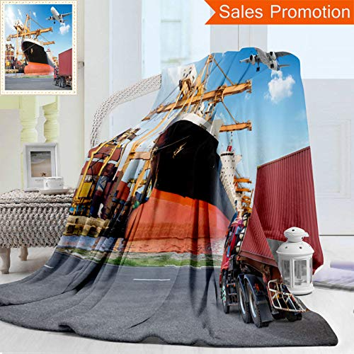 """Bridge Loading (Unique Double Sides 3D Print Flannel Blanket Container Cargo Freight Ship With Working Crane Loading Bridge In Port And Truck Tran Cozy Plush Supersoft Blankets for Couch Bed, Throw Blanket 40"""" x 60"""")"""
