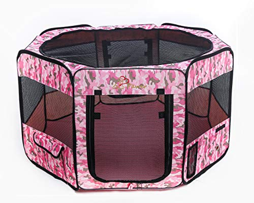 """(Pawer 36""""×18.5"""" 8-Panel Foldable Pet Playpen, Pink Camouflage Pattern, Personalize Fabric Piece Available, for Cat/Dog/Puppy, 600D Oxford Cloth Portable Indoor & Outdoor Kennel with Carry Bag)"""