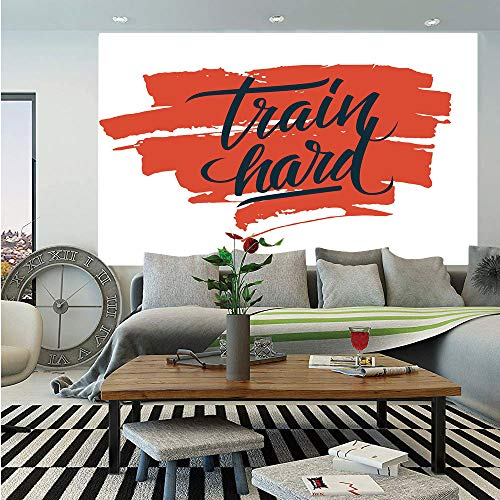 (SoSung Fitness Wall Mural,Train Hard Inspirational Phrase on Brush Strokes Assiduity Determination Decorative,Self-Adhesive Large Wallpaper for Home Decor 83x120 inches,Scarlet Black White)