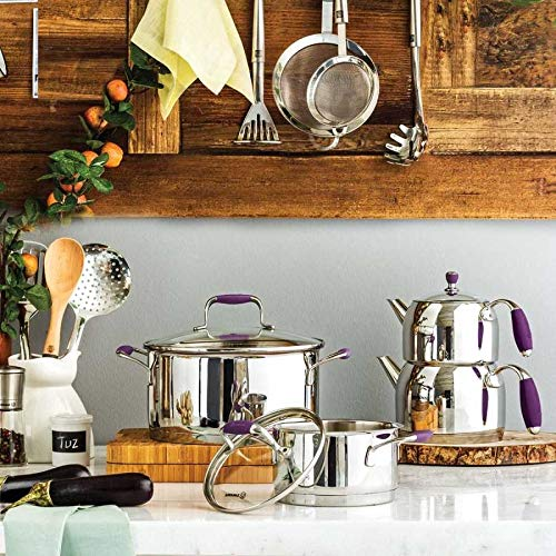 Korkmaz Flora Maxi Capsulated Turkish Teapot Set with Tempered Glass Lid - 1.1 & 2 Liter